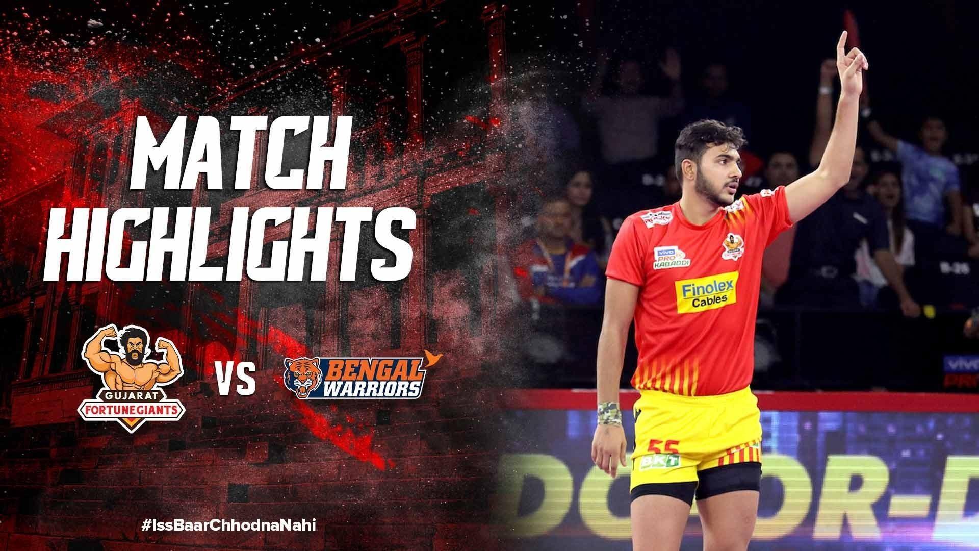 Match Highlights - Gujarat Fortune Giants v Bengal Warriors | Vivo Pro Kabaddi 2019