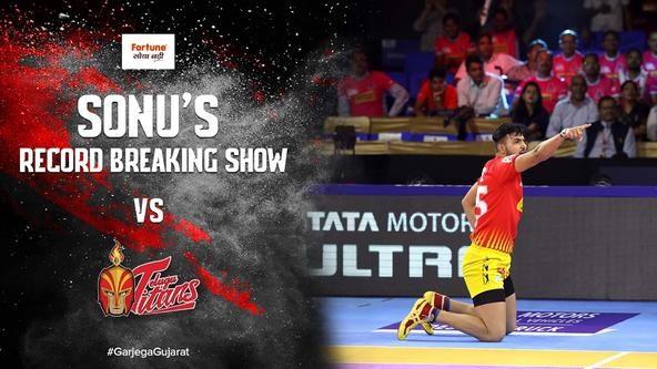 Sonu Jaglan's Record Breaking Show Against Telugu Titans | Vivo Pro Kabaddi Season 7